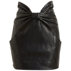 Balmain Bow-Front Leather Mini Skirt