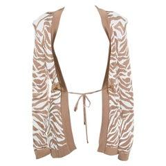 Balmain Brown and White Zebra Pattern Jacquard Knit Drawstring Detail Jacket S