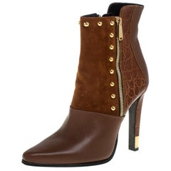 Balmain Brown Croc Embossed, Leather and Suede Boots Size 39