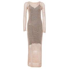 Balmain Brown Crochet Long Sleeveless Maxi Dress S