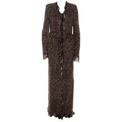 Balmain Brown Metallic Bouclé-Knit Fringed Cardigan M