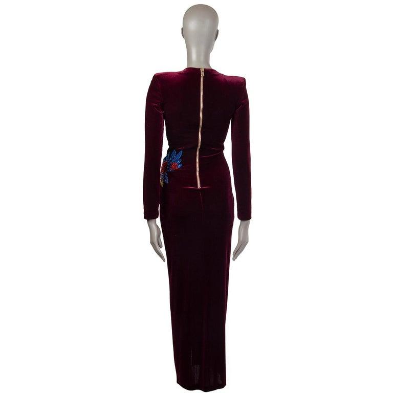 Black BALMAIN burgundy EMBROIDERE VELVET GOWN Maxi Dress 36 For Sale