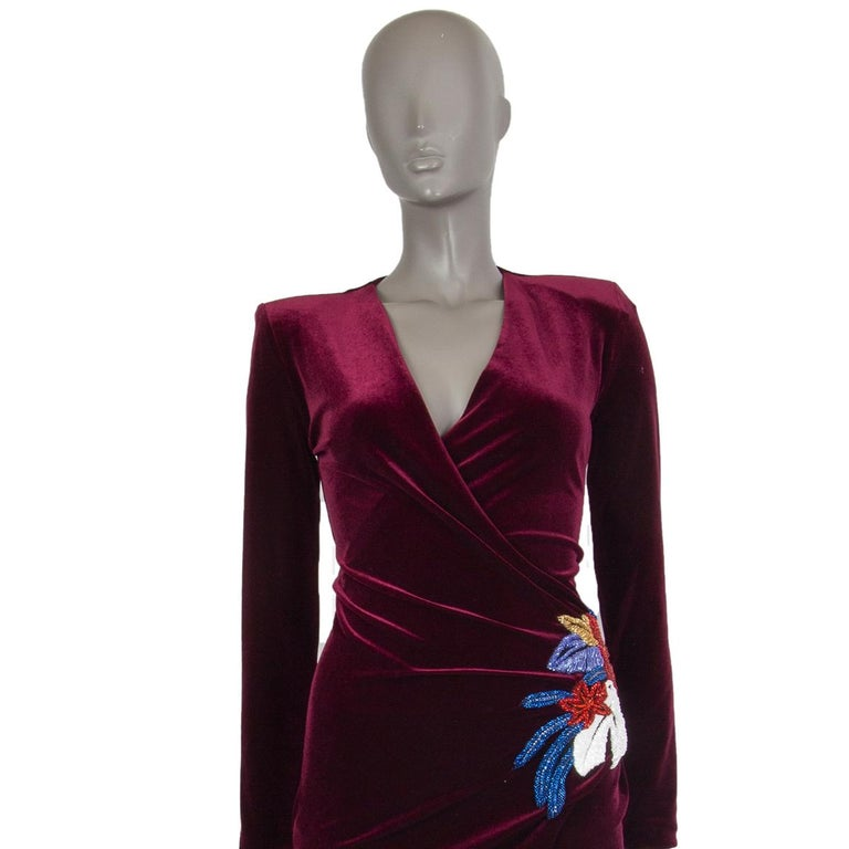 BALMAIN burgundy EMBROIDERE VELVET GOWN Maxi Dress 36 In Excellent Condition For Sale In Zürich, CH