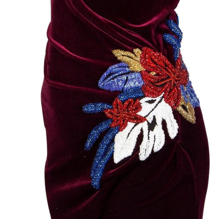 Women's BALMAIN burgundy EMBROIDERE VELVET GOWN Maxi Dress 36 For Sale