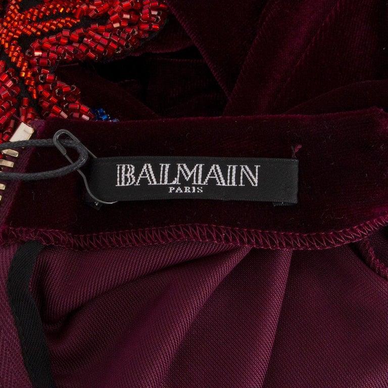 BALMAIN burgundy EMBROIDERE VELVET GOWN Maxi Dress 36 For Sale 1