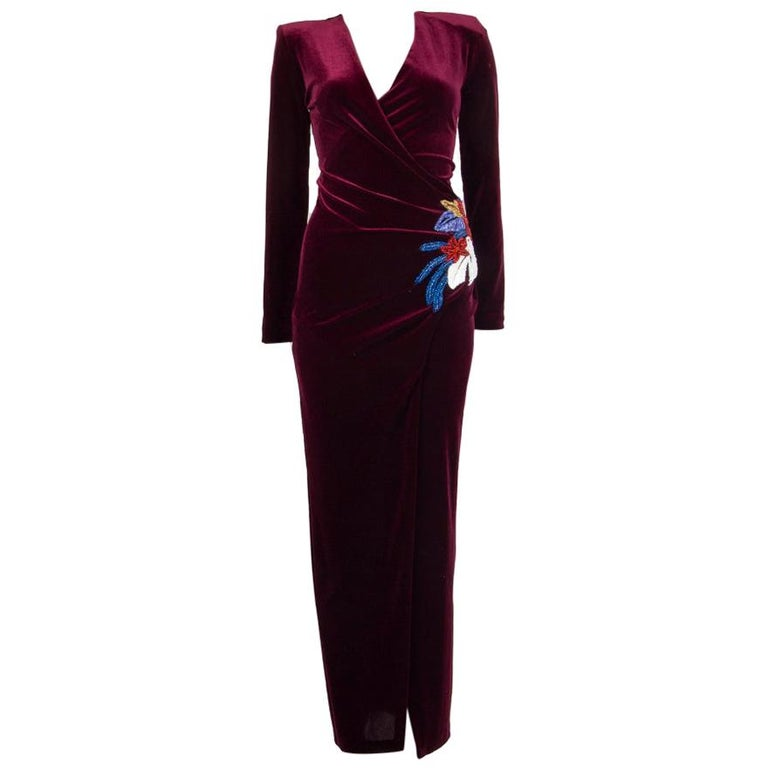 BALMAIN burgundy EMBROIDERE VELVET GOWN Maxi Dress 36 For Sale