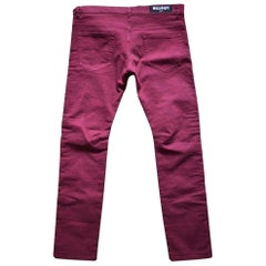 Balmain Burgundy Embroidered Trimming Slim Stretch Jeans