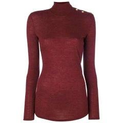 Balmain Burgundy Wool Knit Turtleneck Sweater