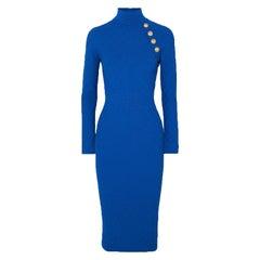 Balmain Button-Embellished Jacquard Knit Midi Dress
