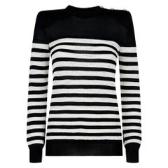 Balmain Button Embellished Striped Open Knit Sweater