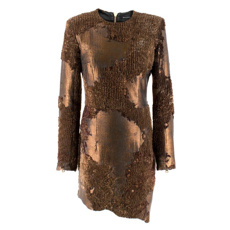 2a6b2c10 Balmain camouflage sequin dress FR 36 For Sale at 1stdibs