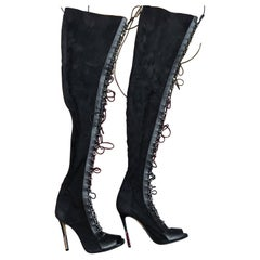 Balmain Campbell lace-up leather-trimmed stretch-suede thigh boots