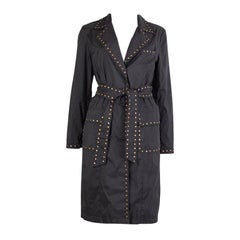 BALMAIN charcoal grey nylon STUDDED TRENCH Coat Jacket 40