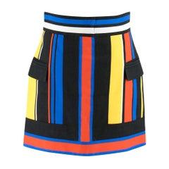 Balmain Colourblock Stripe A-Line Mini Skirt FR 40