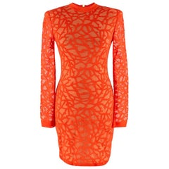 Balmain Coral Knit Fitted Mini Dress - Size US 2