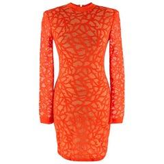 Balmain Coral Knit Fitted Mini Dress - Size US 2