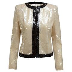 Balmain Cream & Black Sequin Jacket