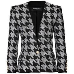 Balmain Crystal-Embellished Houndstooth Jacket