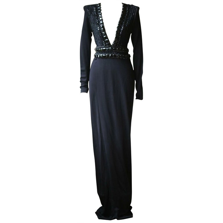 Balmain Crystal Embellished Wrap Jersey Gown For Sale