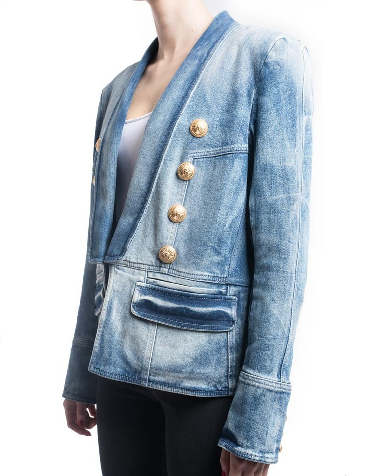718eb121 Blue Balmain Denim Jacket with Gold Military Buttons - L / 12 For Sale