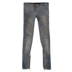 Balmain Distressed Ribbed Skinny Jeans 38