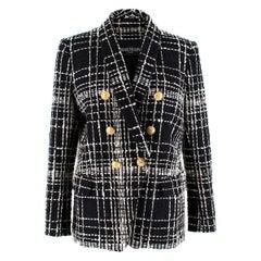 Balmain double-breasted bouclé-tweed jacket FR 42