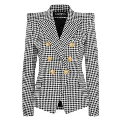 Balmain Double-breasted Houndstooth Cotton-blend Jacquard Blazer
