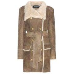 Balmain Double Breasted Shearling Jacket FR42 US6-8