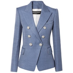 Balmain Double Breasted Tweed Blazer