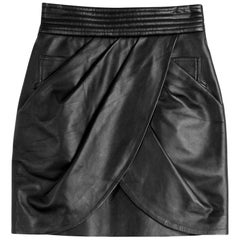 Balmain Draped Leather Mini Skirt