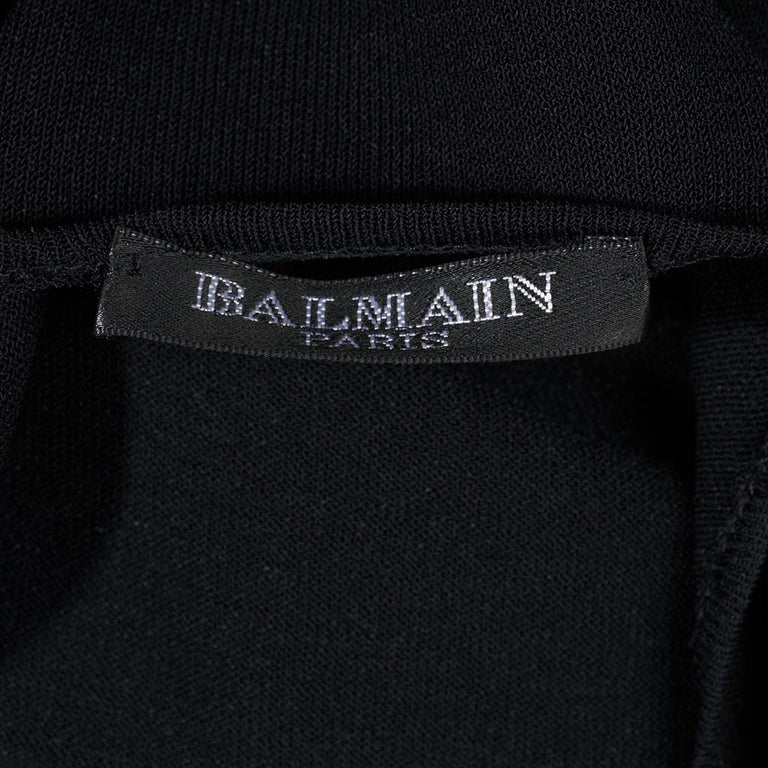 Balmain Dress Black Knit Silver Chain Mail Mesh Detail 40 / Fits 4 to 6 For Sale 8