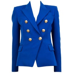 BALMAIN electric blue wool SIGNATURE DOUBLE BREASTED Blazer Jacket 38