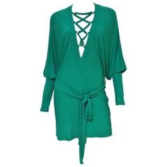 Balmain Emerald Green Lace up Plunge Dress