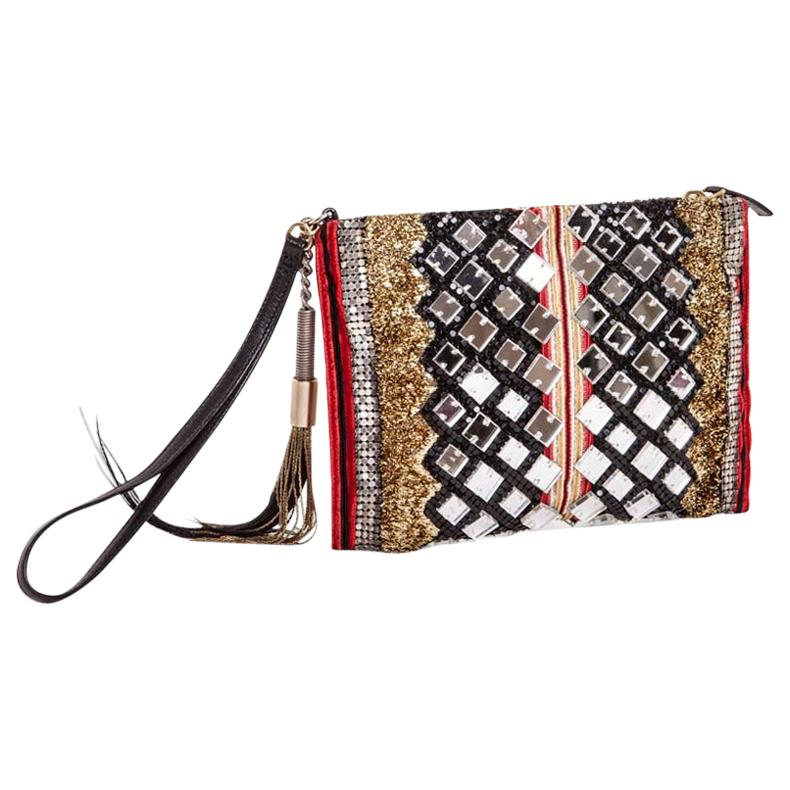 Balmain Evening Clutch in Lame Gold Fabric and Embroideries