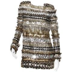 Balmain Fall 2011 Metallic Eyelash suede dress by Christophe Decarnin