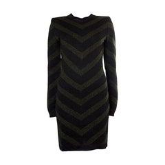 BALMAIN forest green & black viscose blend CHEVRON KNIT Dress 36