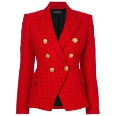 Balmain Frayed Red Tweed Jacket