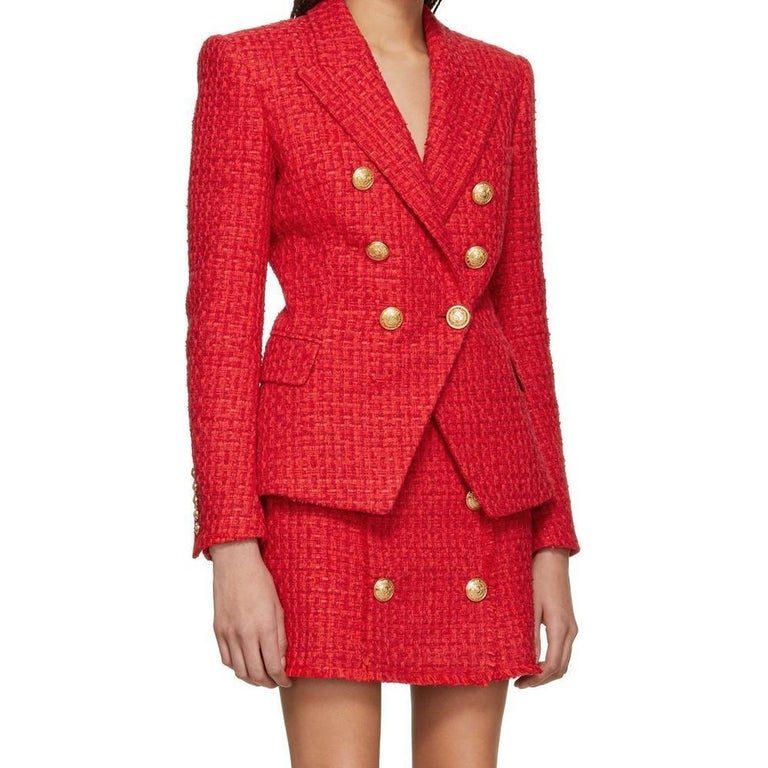 Balmain Frayed Red Tweed Jacket FR38 US4-6 In New Condition For Sale In Brossard, QC