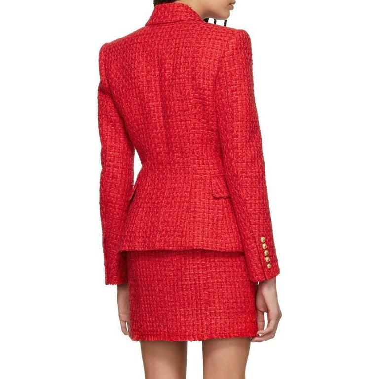 Women's Balmain Frayed Red Tweed Jacket FR38 US4-6 For Sale