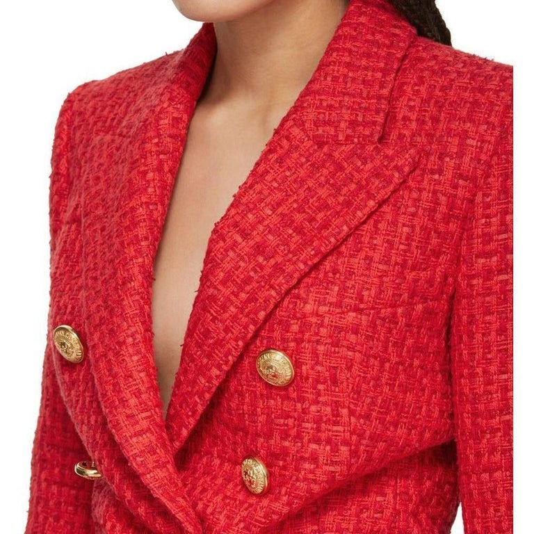 Balmain Frayed Red Tweed Jacket FR38 US4-6 For Sale 1