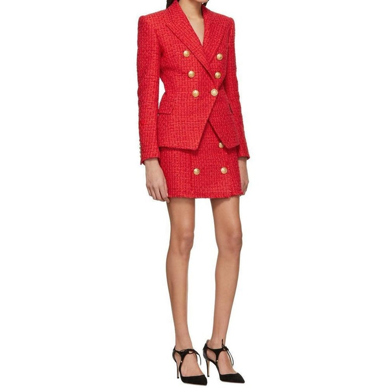 Balmain Frayed Red Tweed Jacket FR38 US4-6 For Sale 2
