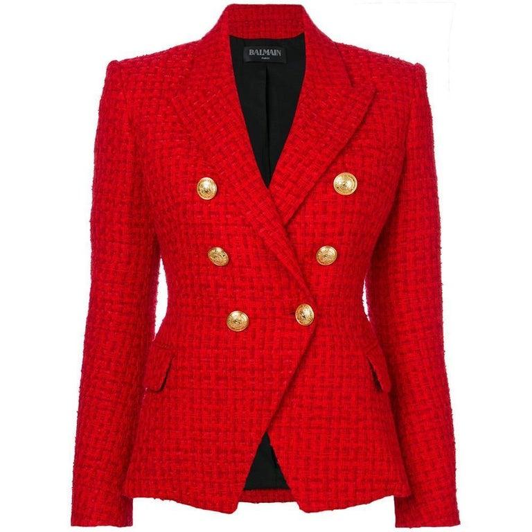 Balmain Frayed Red Tweed Jacket FR38 US4-6 For Sale