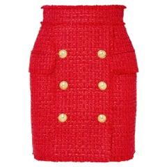Balmain Frayed Red Tweed Skirt