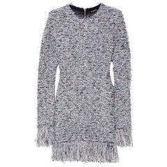 Balmain Frayed Stretch-Tweed Mini Dress