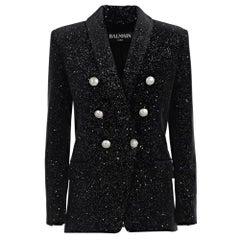 Balmain Glittered Double Breasted Black Velvet Blazer FR38 US4-6