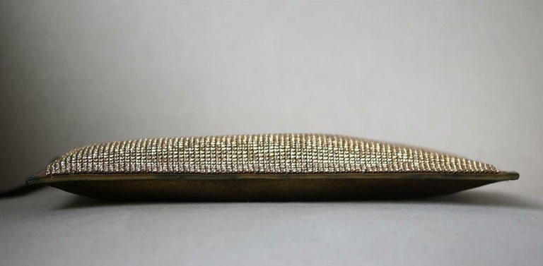 Balmain Gold Crystal Embellished Pouch Clutch In Excellent Condition For Sale In London, GB