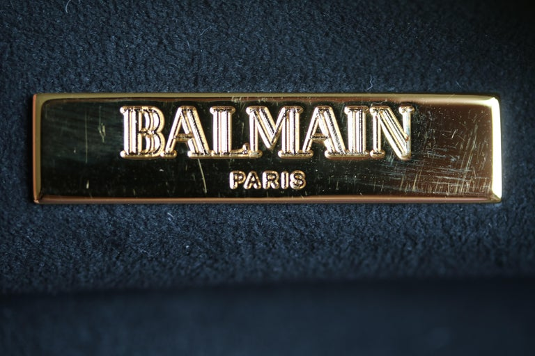 Women's Balmain Gold Crystal Embellished Pouch Clutch For Sale