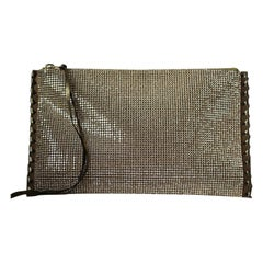 Balmain Gold Crystal Embellished Pouch Clutch