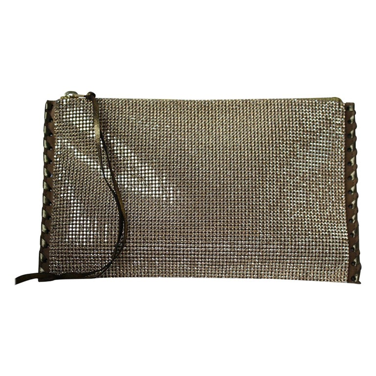 Balmain Gold Crystal Embellished Pouch Clutch For Sale