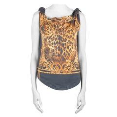 Balmain Green and Gold Leopard Print Cotton Shoulder Tie Detail Top S